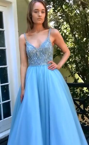 Long Prom Dress with Beading,Sweet 16 Dress, Pageant Dress, Wedding Party Dress PDS1080