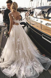 Open Back A-line Tulle Wedding Dress with Applique ,Bridal Dress,Bride Wear,Custom Made Dress For Wedding BDS0704