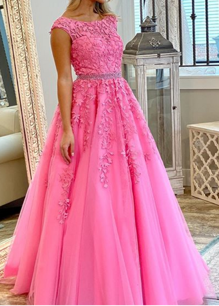 2020 Long Prom Dresses with Applique and Beading,Sweet 16 Dress, Pageant Dress, Wedding Party Dress PDS1102