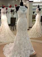 Lace Wedding Dress Halter Neckline, Popular Bridal Gown with Buttons