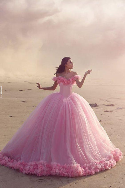 Off the Shoulder Ball Gown Long Prom Dress With Handmade Flowers, Fashion Pageant Dress, School Party Dress, Fashion Colored Wedding Dress PDS0880