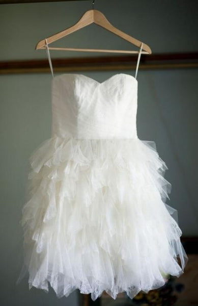Popular Short Tulle Wedding Dress , Short Wedding Reception Bridal Dress BDS0168