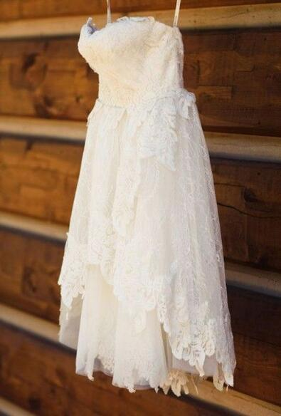 Popular Short Lace Wedding Dress With Applique, Short Wedding Reception Bridal Dress BDS0167