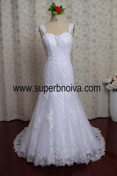 Backless Mermaid Real Photo Wedding Dress,Popular Bridal Dress With Appliques BDS0089