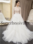 Fashion Long Sleeves Ball Gown Lace Wedding Dress With Pearls  Real Photo Bridal Dresses Vestidos de Novia BDS0545