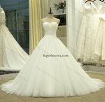 Strapless Ball Gown Tulle Wedding Dress Real Photo Bridal Dresses Vestidos de Novia BDS0546