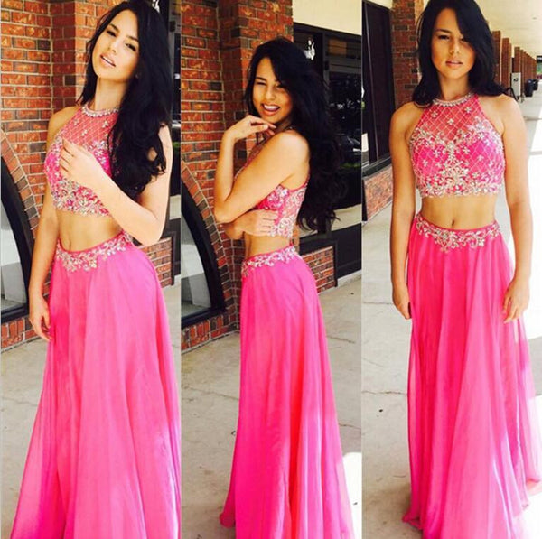 Two Piece Beaded Long Prom Dress ,Wedding Party Dress,Popular Cocktail Dress,Fashion Evening Dress  PDS0174