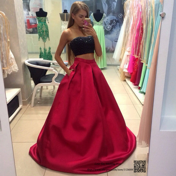 Two Piece Beaded Long Prom Dress ,Wedding Party Dress,Popular Cocktail Dress,Fashion Evening Dress  PDS0175