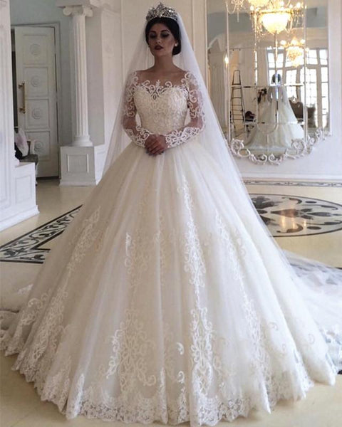 Ball Gown Wedding Dress with Long Sleeves, Fashion Custom Made Bridal Dresses, Plus Size Wedding dress BDS0652