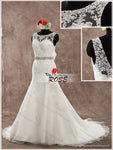 Backless Lace and Tulle Wedding Dress Bridal Gown with Beads ,Real Photo Mermaid Bridal Wedding Gown BDS0594