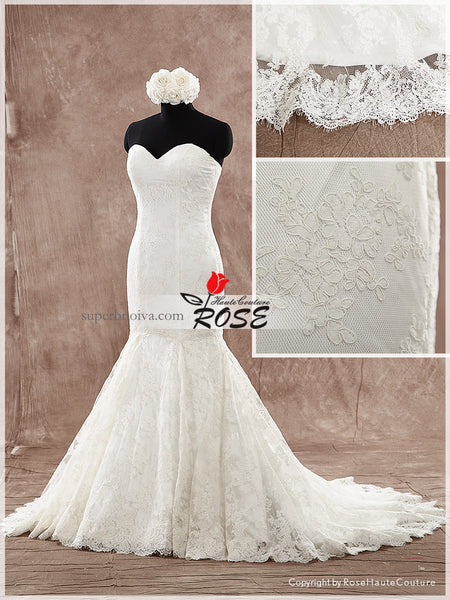 Strapless Sweetheart Mermaid Lace Wedding Dress Real Photo Bridal Dresses Vestidos de Novia BDS0490