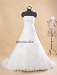 Strapless A-line Real Photo Lace/Tulle Wedding Dress Bridal Dresses Vestidos de Novia BDS0363