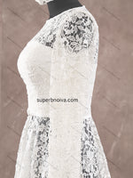 Short See Through Lace Real Photo Wedding Dress Reception Bridal Dresses Vestidos de Novia BDS0366