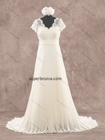 V-neck Real Photo Lace/Chiffon Beach Wedding Dress Bridal Dresses Vestidos de Novia BDS0367