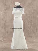 Mermaid Lace Real Photo Wedding Dress With Short Sleeves Bridal Dresses Vestidos de Novia BDS0370