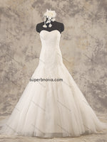 Strapless Mermaid Real Photo Tulle Wedding Dress With Applique Bridal Dresses Vestidos de Novia BDS0372