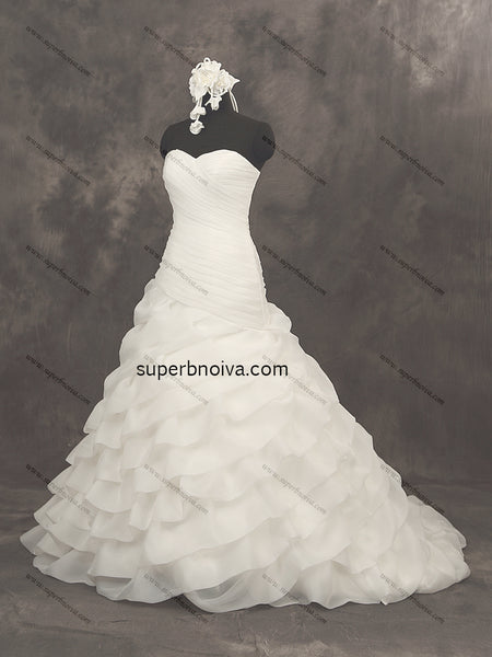 Strapless Organza Real Photo Wedding Dress Bridal Dresses With Lace Up Back Vestidos de Novia BDS0389