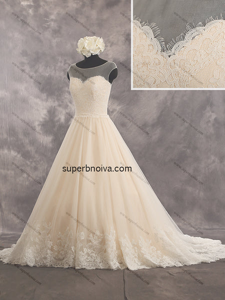 A-line Lace/Tulle Real Photo Wedding Dress Bridal Dresses With Applique Vestidos de Novia BDS0405