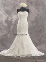 Strapless Mermaid Real Photo Lace Wedding Dress Bridal Dresses With Zipper Back Vestidos de Novia BDS0407