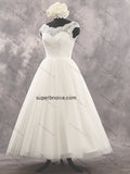 Tea Length Lace/Tulle Real Photo Wedding Dress Reception Bridal Dresses Vestidos de Novia BDS0410