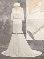 V-neck Mermaid Real Photo Lace Wedding Dress Bridal Dresses With Sleeves Vestidos de Novia BDS0413