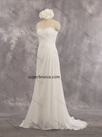 A-line Chiffon Real Photo Beach Wedding Dress With Beading Bridal Dresses Vestidos de Novia BDS0419
