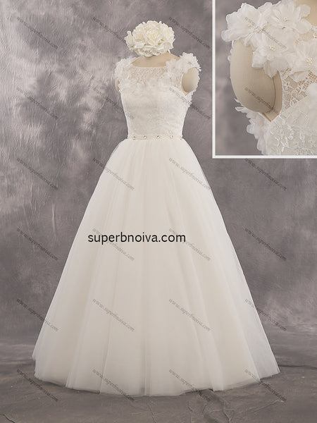 A-line Real Photo Lace/Tulle Wedding Dress With Handmade Flower Bridal Dresses Vestidos de Novia BDS0421