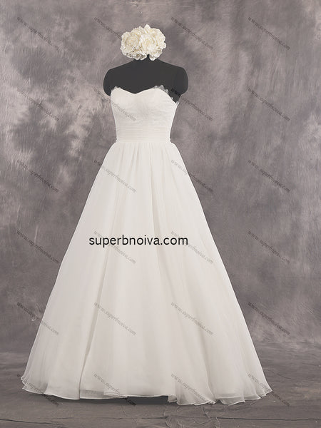 A-line Real Photo Lace/Organza Wedding Dress With Lace Up Back Bridal Dresses Vestidos de Novia BDS0425