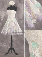 A-line Short Appliqued Tulle Real Photo Colored Wedding Dress Reception Bridal Dresses Vestidos de Novia BDS0427