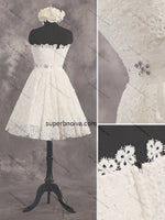 A-line Short Lace Real Photo Wedding Dress Reception Bridal Dresses Short Prom Dress White Homecoming Dress BDS0428