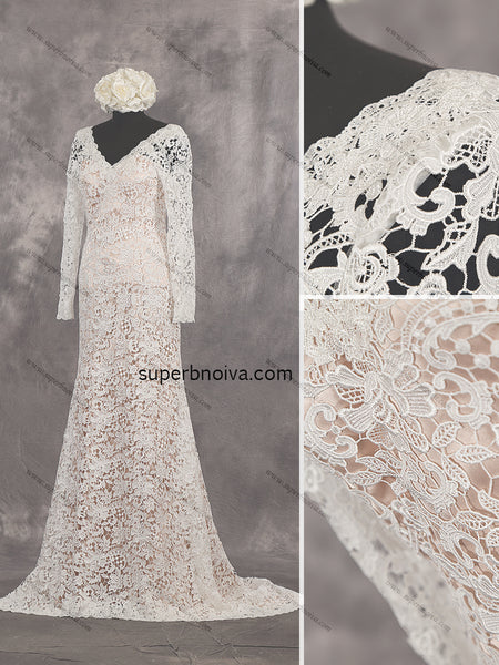 Open Back Real Photo Lace Wedding Dress With Long Sleeves Bridal Dresses Vestidos de Novia BDS0429