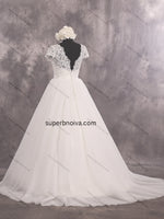 V-back Real Photo Lace/Tulle Wedding Dress With Short Sleeves Bridal Dresses Vestidos de Novia BDS0433