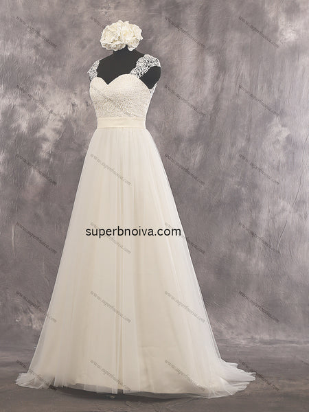 V-back A-line Real Photo Lace/Tulle Wedding Dress With Cap Sleeves Bridal Dresses Vestidos de Novia BDS0434