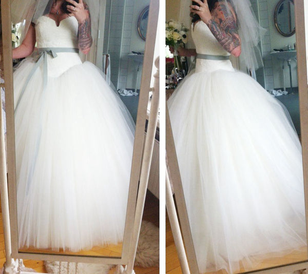 Sweetheart Ball Gown Tulle Wedding Dress With Applique Fashion Bridal Dresses Vestidos de Novia BDS0554