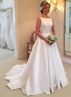 Backless A-line Satin Wedding Dress Bridal Dresses Vestidos de Novia BDS0560