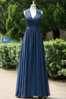 V-neck Backless Long Prom Dress Bridesmaid Dress Mother of The Bride Dress PDS0495