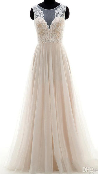 A-line Tulle Beach Wedding Dress ,Popular Beach Bridal Dress With Applique BDS0079