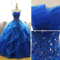 Strapless Ball Gown Long Prom Dress Wedding Party Dress Formal Dress PDS0587