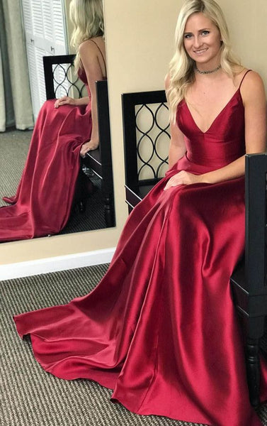 Burgundy Sexy Satin Long Prom Dress ,Fashion Pageant Dress, School Dance Dress PDS0905