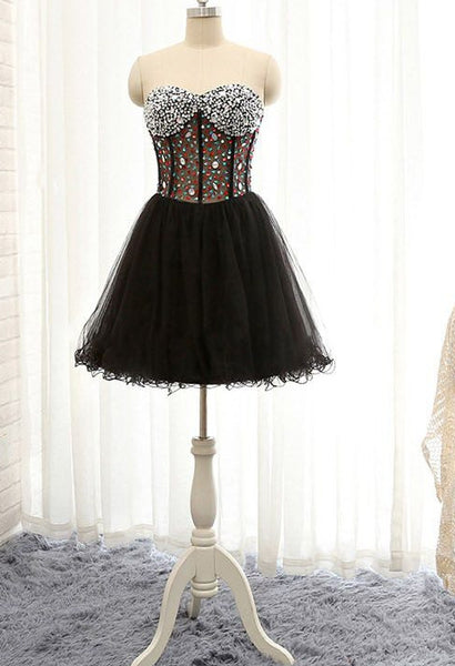 Short Black Homecoming Dress With Beading , Short Prom Dress, PDS0132