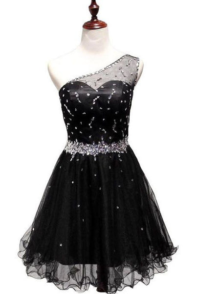 One Shoulder Black Homecoming Dress With Beading , Short Prom Dress, PDS0134