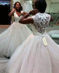 Deep V-neck Ball Gown Wedding Dress with Beading,Plus Size Lace/Tulle Bridal Dresses, Modest Vestidos de Novia BDS0592