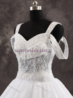 A-line Real Photo Ball Gown Wedding Dress,Popular Lace Bridal Dress With Beadings BDS0001