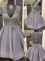 V-neck Short Beading Homecoming Dress , Short Prom Dress, PDS0046