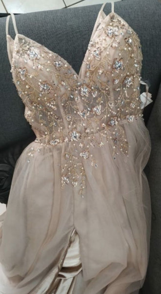 V-neck Beading Long Prom Dresses,Sweet 16 Dress, Pageant Dress, Wedding Party Dress PDS1108