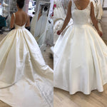 Backless Ball Gown Wedding Dress,Plus Size Lace/Satin Bridal Dresses, Modest Vestidos de Novia BDS0591