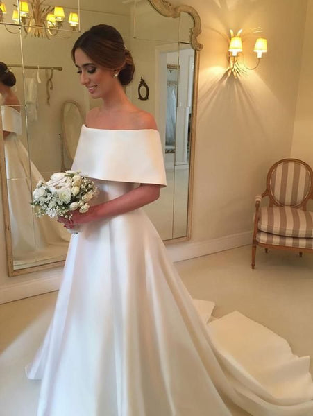 A-line Off the Shoulder Satin Cheap Simple Bridal Wedding Dresses ,Vestidos de Novia BDS0348