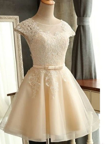 A-line Appliqued Homecoming Dress With Cap Sleeves ,Short Wedding Dress  PDS0153