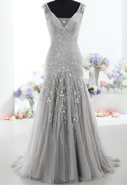 Mermaid Long Prom Dresses With Beading ,Fashion Winter Formal Dress, School Dance Dress PDS1041