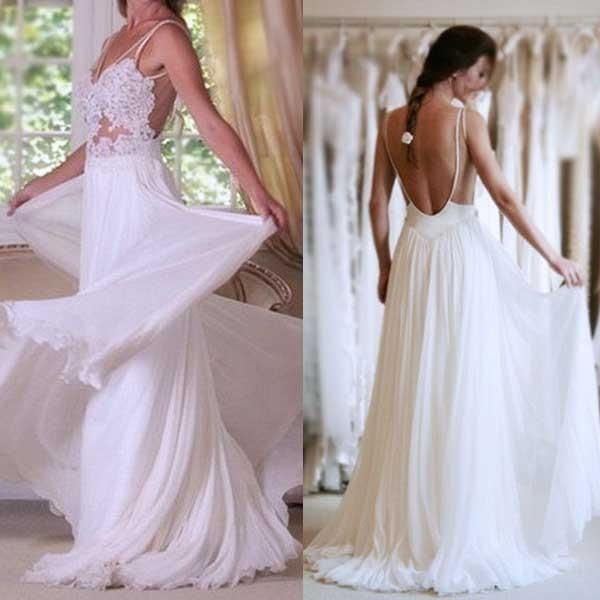 Sexy Backless Long Sheath Beach Lace Wedding Dresses, Beach Chiffon Bridal Gown BDS0294